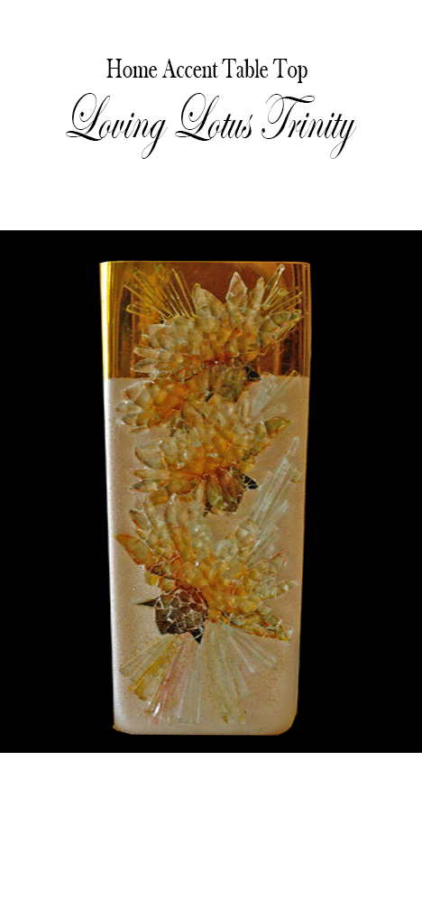 Mosaic Glass Art Loving Lotus Trinity Vase Home or Office Accent