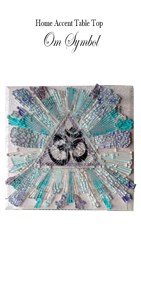 Mosaic Glass Art Om Symbol Home or Office Accent